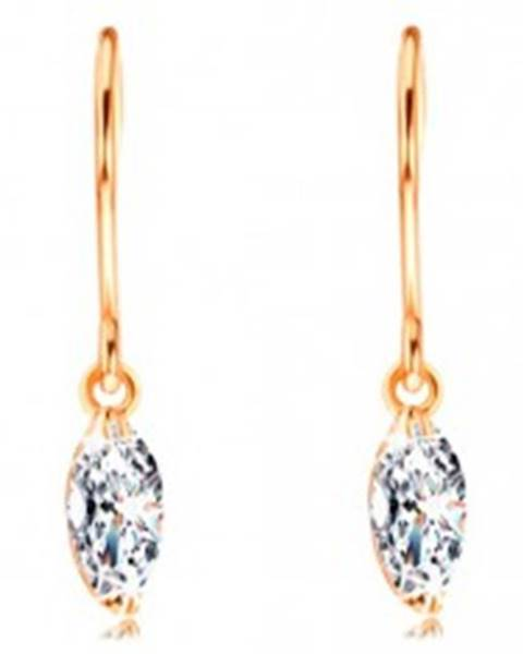 Šperky eshop Náušnice zo žltého 14K zlata - žiarivý zrnkový diamant čírej farby