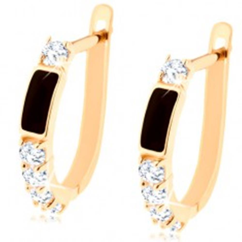 Šperky eshop Briliantové zlaté náušnice 585 - čierny obdĺžnik, číre okrúhle diamanty