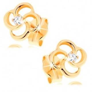 Briliantové náušnice zo žltého 14K zlata - kvet s čírym diamantom