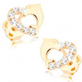 Briliantové zlaté náušnice 585 - obrys srdiečka s líniou diamantov a delfínom