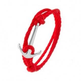 Červený šnúrkový náramok na obtočenie okolo ruky, kotva striebornej farby
