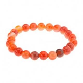 Elastický náramok, guľôčky oranžovej farby z achátu na priehľadnej gumičke
