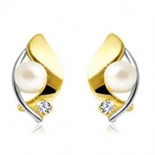 Náušnice zo 14K zlata, dvojfarebné zrnko, biela perla a číry zirkón