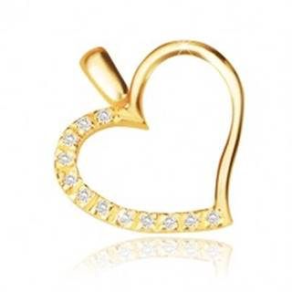 Prívesok v žltom 14K zlate - obrys nesúmerného srdca, ligotavá zirkónová polovica