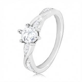Zásnubný prsteň zo striebra 925 - okrúhly zirkón, zvlnené lesklé línie, zirkóniky - Veľkosť: 49 mm