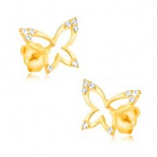 Zlaté náušnice 375 - lesklá kontúra motýľa, zirkónové cípy krídel