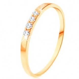 Zlatý prsteň 585 - línia štyroch čírych briliantov, tenké lesklé ramená - Veľkosť: 49 mm