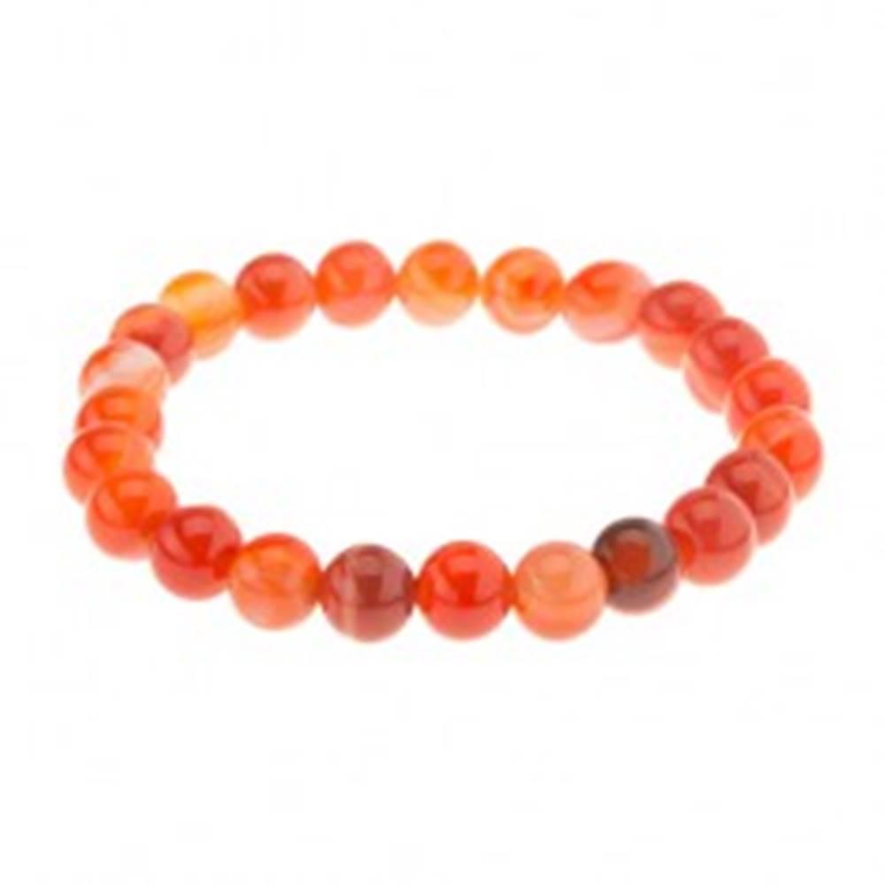 Šperky eshop Elastický náramok, guľôčky oranžovej farby z achátu na priehľadnej gumičke