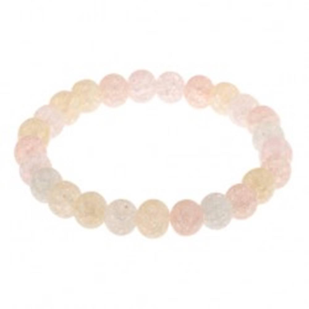 Šperky eshop Guličkový farebný náramok v pastelových odtieňoch, pevná gumička