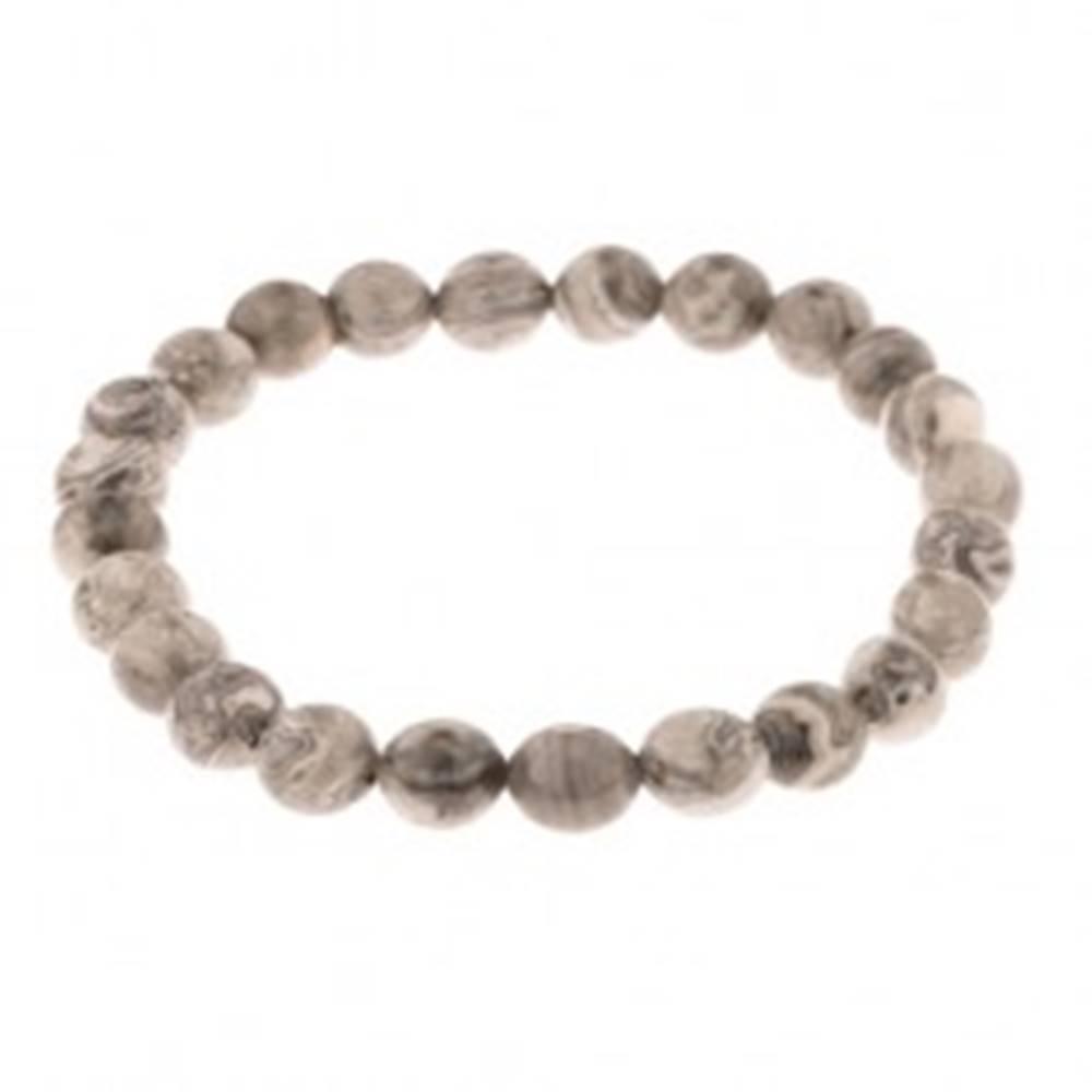 Šperky eshop Náramok na ruku - guľaté korálky zo sivého jaspisu, priesvitná gumička