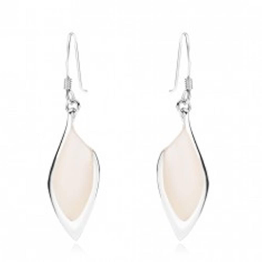 Šperky eshop Náušnice - striebro 925, asymetrické zrnko, biela perleť, strieborný lem