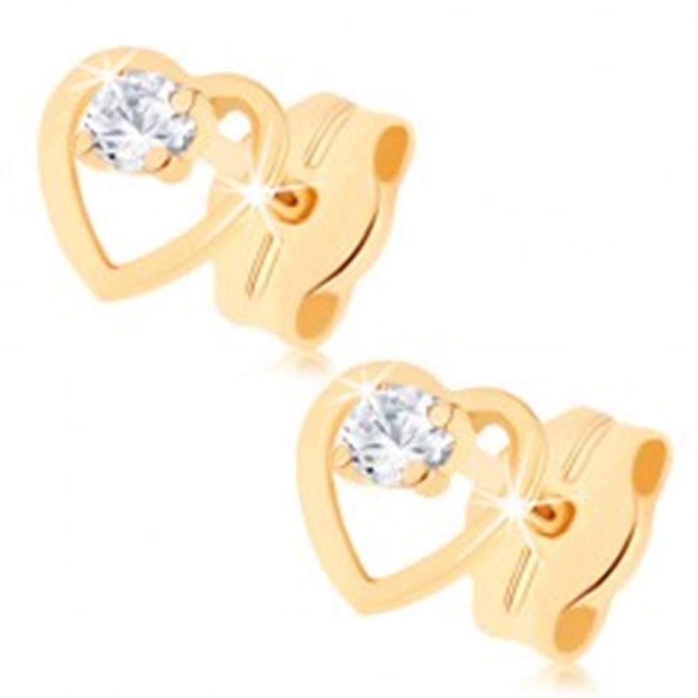 Šperky eshop Náušnice v žltom 9K zlate - číry zirkón v kontúre súmerného srdiečka