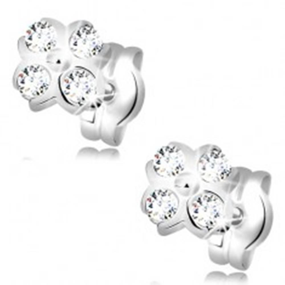 Šperky eshop Náušnice z bieleho 14K zlata - kvietok s guľôčkou v strede a čírymi zirkónmi