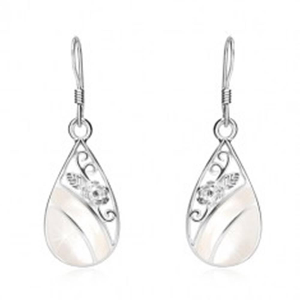Šperky eshop Náušnice zo striebra 925, slza s výrezmi, biela perleť, ornament - ruža