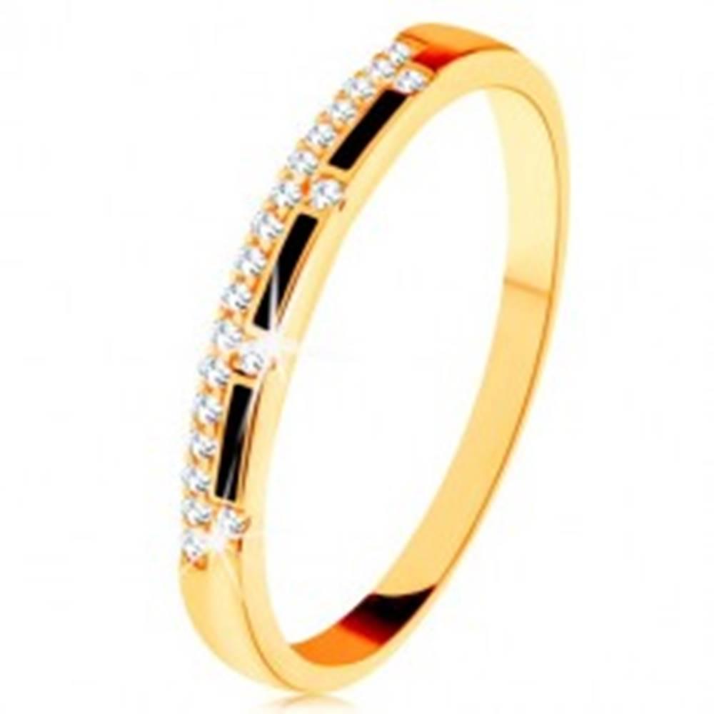 Šperky eshop Prsteň zo žltého 9K zlata - pásy čiernej glazúry, číra zirkónová línia - Veľkosť: 50 mm
