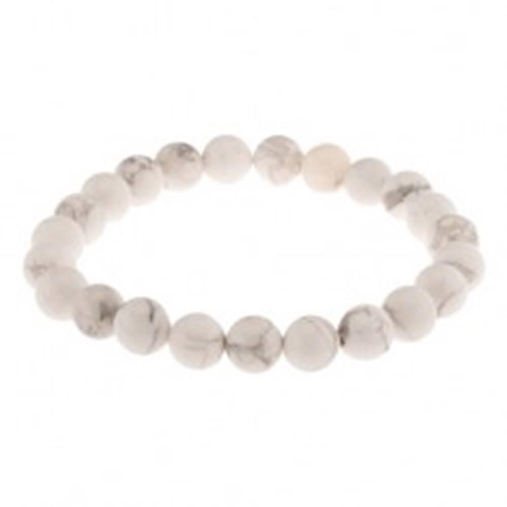 Šperky eshop Pružný náramok, biele korálky z prírodného kameňa, sivý mramorový vzor