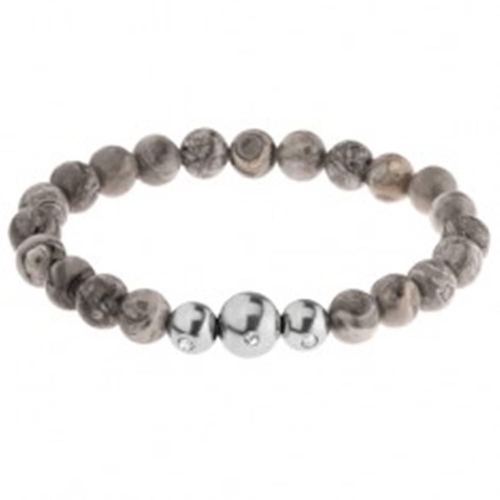 Šperky eshop Pružný náramok - guľôčky zo sivého jaspisu, tri oceľové korálky, gumička