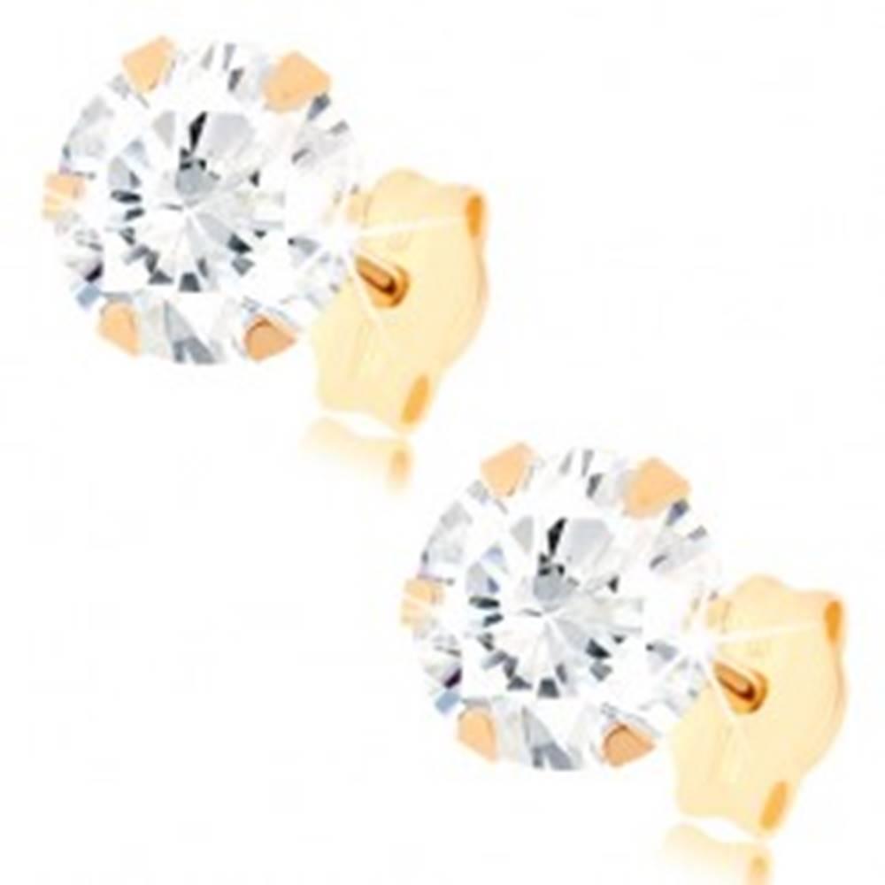 Šperky eshop Puzetové náušnice v žltom 9K zlate - okrúhly zirkón čírej farby, 6 mm