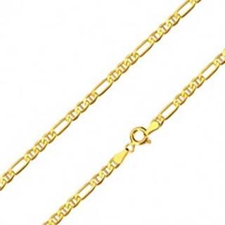 Retiazka zo 14K žltého zlata - podlhovasté očko, tri oválne očká s paličkami, 450 mm