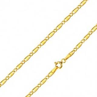 Retiazka zo žltého zlata 585 - oválne očká, podlhovasté očká s obdĺžnikom, 500 mm