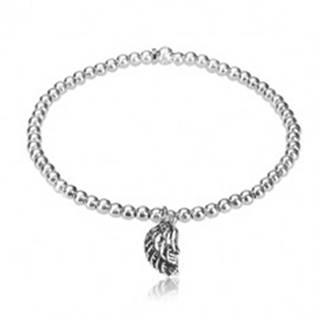 Rozťahovací náramok - zvlnené anjelské krídlo s patinou, guľôčky, striebro 925