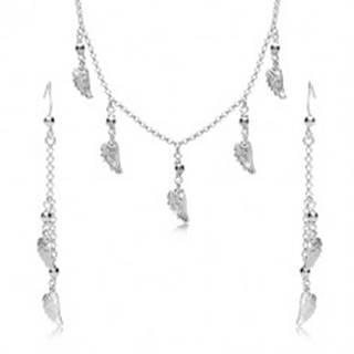 Strieborná 925 sada - náušnice a náhrdelník, anjelské krídla a guličky na retiazke