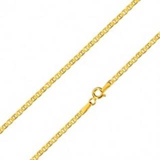 Zlatá 14K retiazka - ploché oválne očká predelené paličkou, 600 mm
