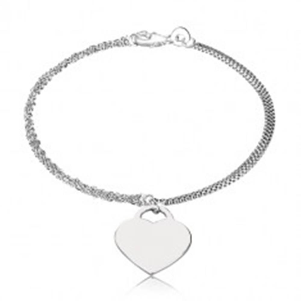 Šperky eshop Náramok, striebro 925 - šachovnicová retiazka, srdcová zámka, tri špirálovité retiazky