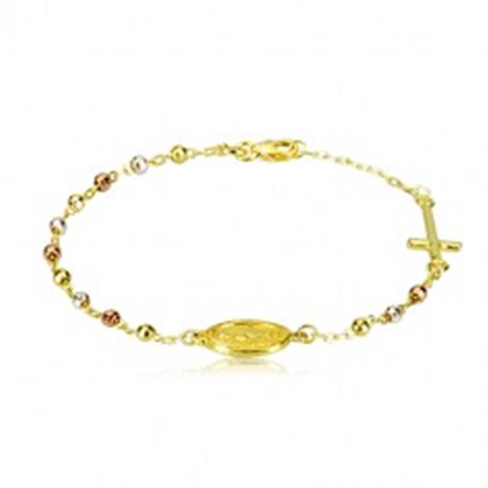 Šperky eshop Náramok zlatej farby zo striebra 925 - trojfarebné guličky, medailón a kríž