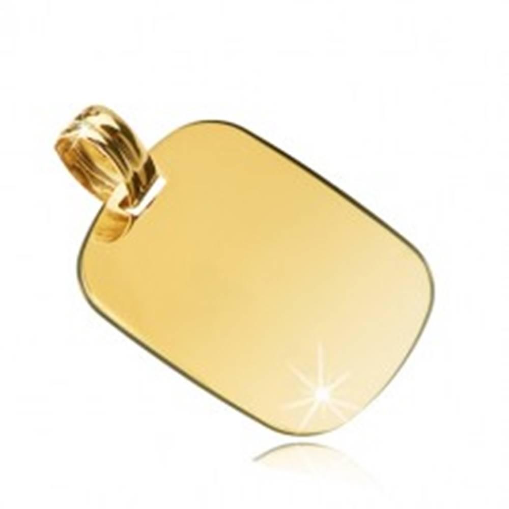 Šperky eshop Prívesok zo 14K žltého zlata - zrkadlovolesklý obdĺžnik so zaoblenými hranami
