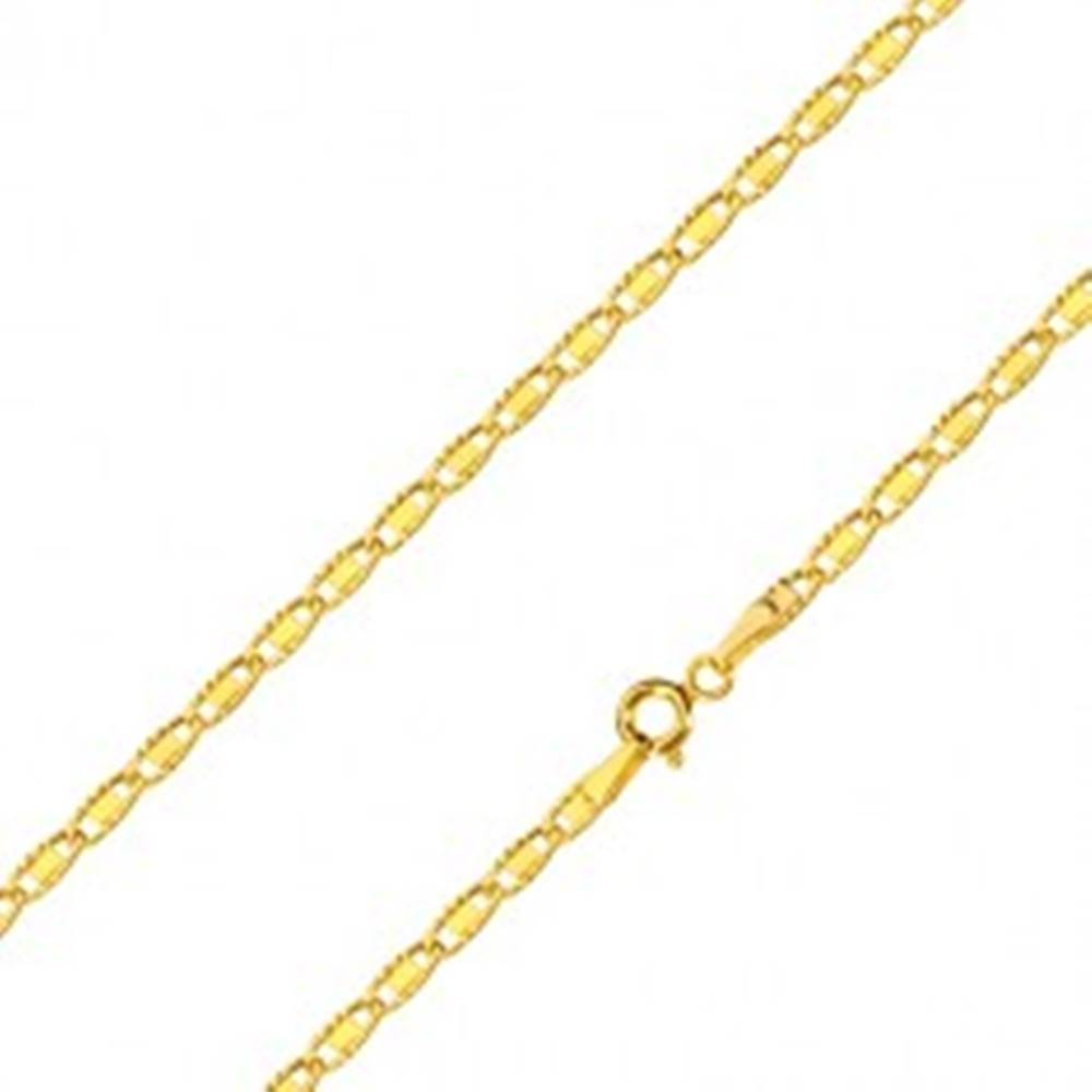 Šperky eshop Retiazka v 14K žltom zlate - oválne očká so zárezmi a hladkým obdĺžnikom, 500 mm