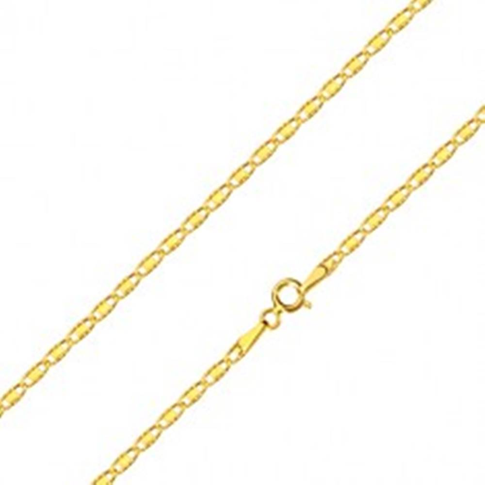 Šperky eshop Retiazka zo 14K žltého zlata - oválne očká s obdĺžnikom a zárezmi, 500 mm
