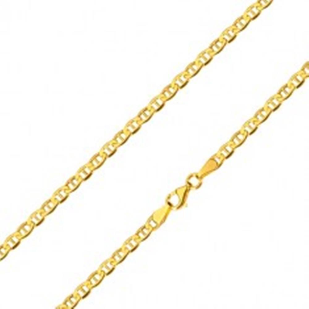 Šperky eshop Retiazka zo žltého 14K zlata - lesklé oválne očká s paličkou uprostred, 600 mm