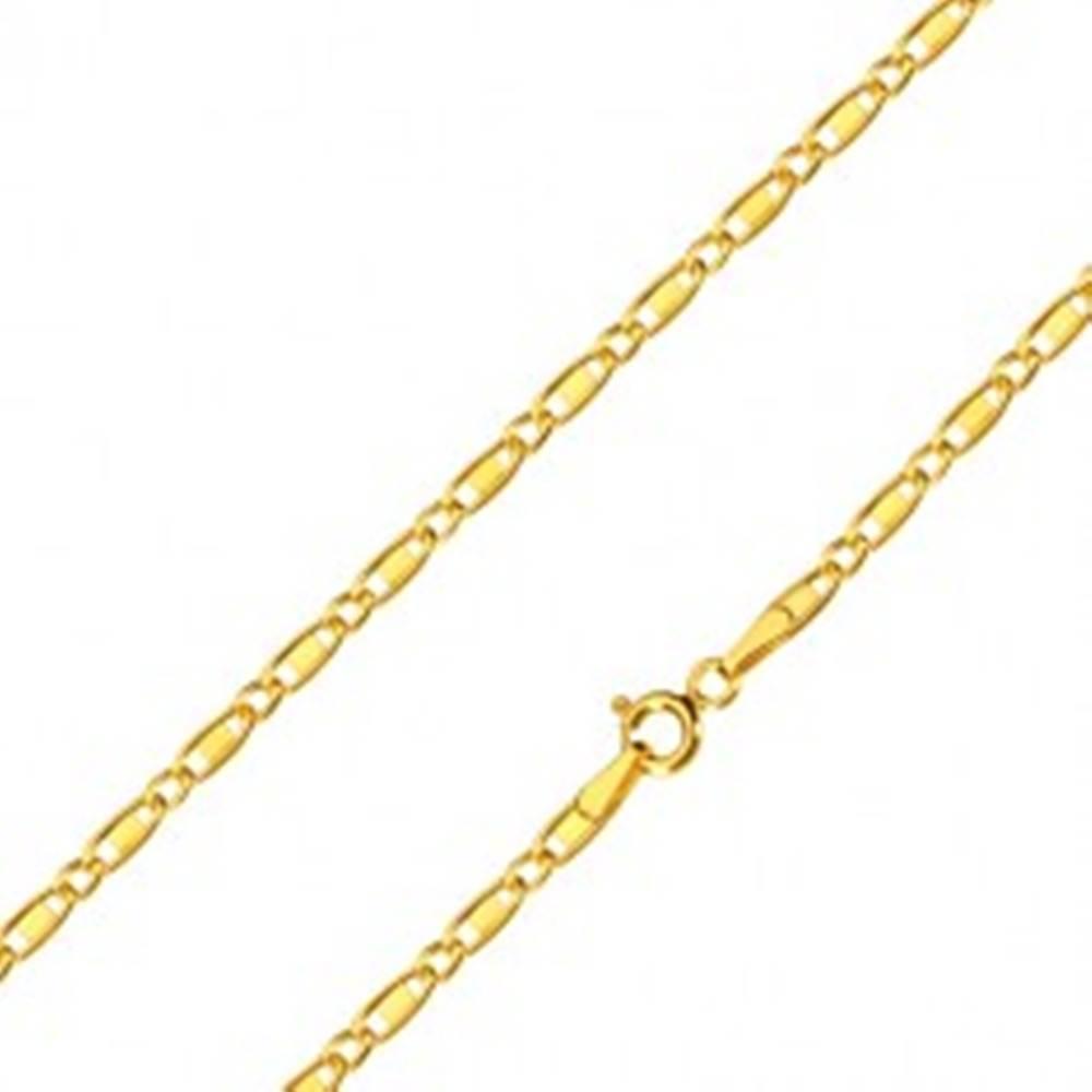 Šperky eshop Retiazka zo žltého 14K zlata - oválne očká, podlhovasté očká s obdĺžnikom, 450 mm