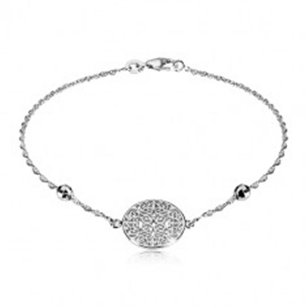 Šperky eshop Strieborný 925 náramok - ornamentálne vyrezávaný kruh, vybrúsené guľôčky