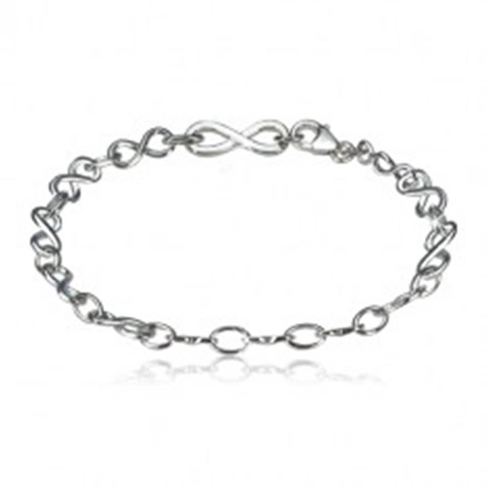 Šperky eshop Strieborný náramok 925 - symboly nekonečna a oválne očká, lesklý povrch