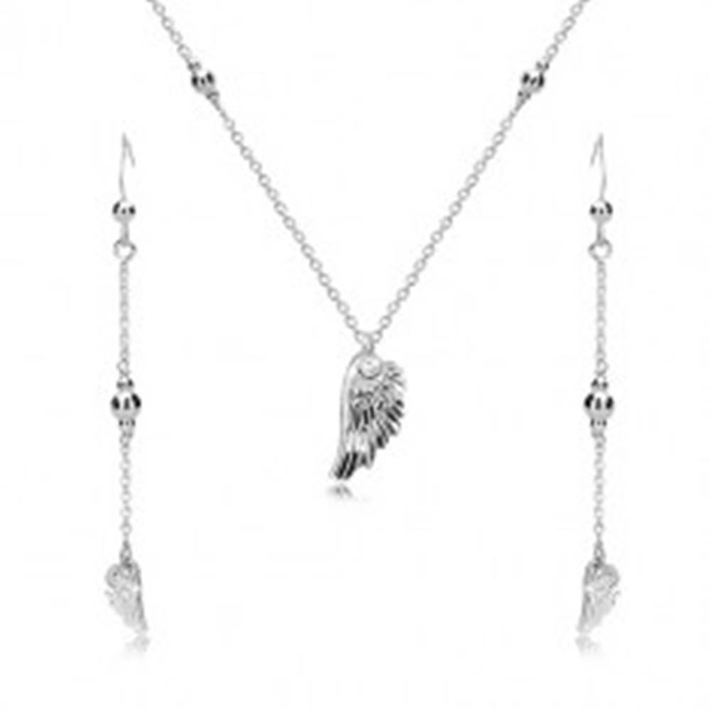 Šperky eshop Strieborný set 925 - náušnice a náhrdelník, anjelské krídlo a lesklé guličky