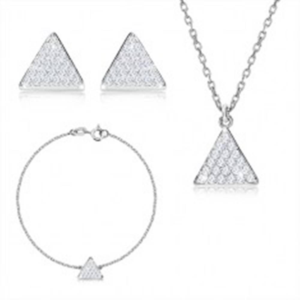 Šperky eshop Trojdielna sada, striebro 925 - rovnostranný trojuholník so zirkónmi, retiazka