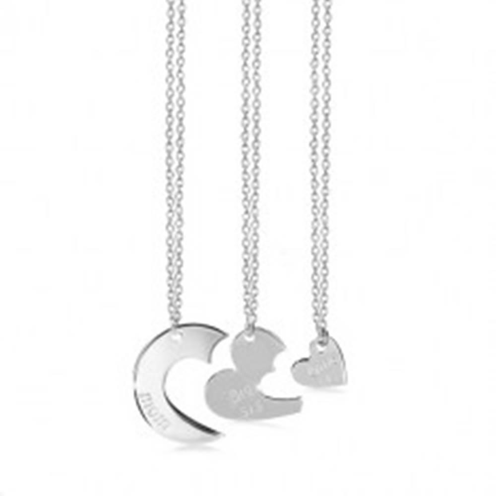 Šperky eshop Trojset zo striebra 925 - tri náhrdelníky, kruh s výrezmi, srdiečka a nápisy