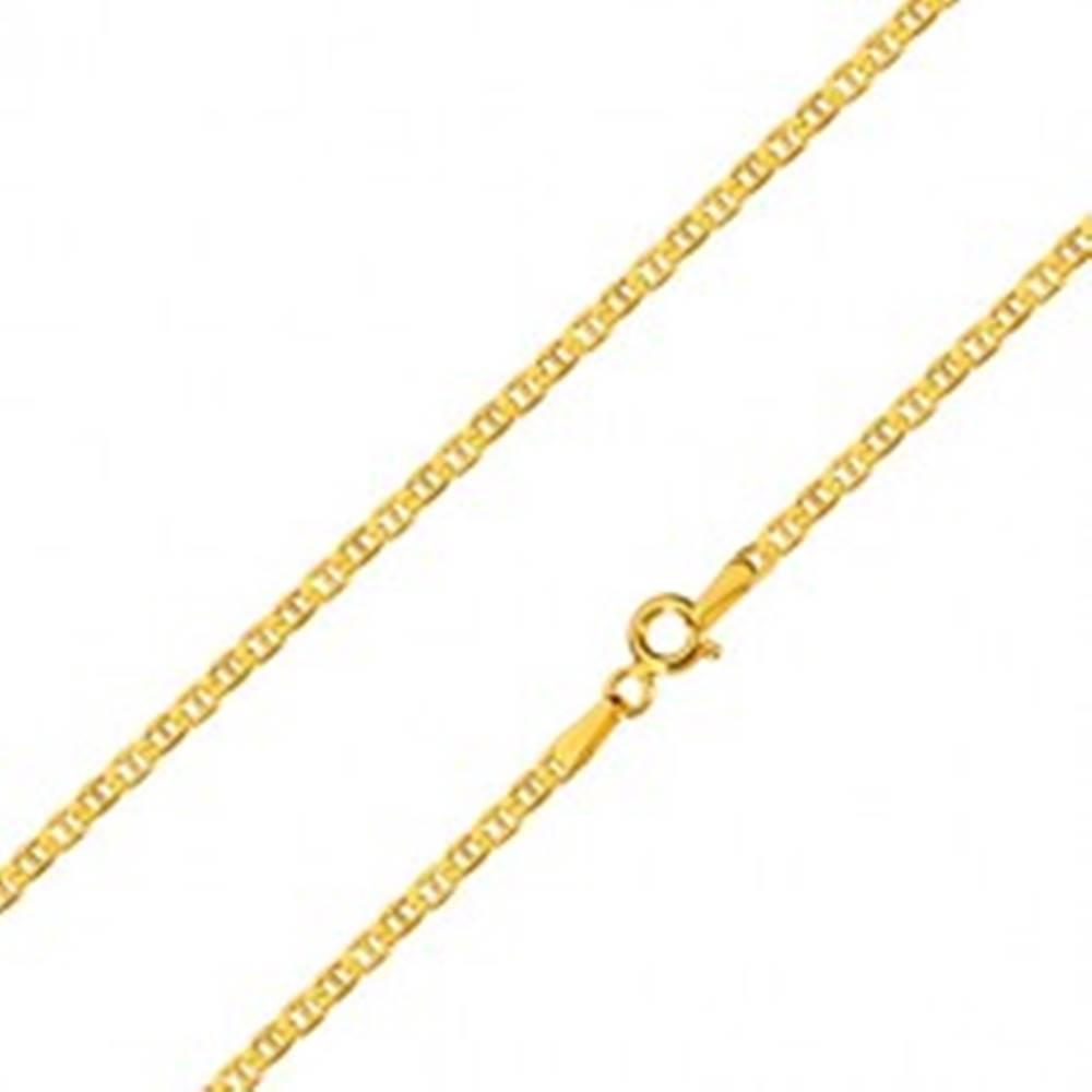 Šperky eshop Zlatá 14K retiazka - ploché oválne očká predelené paličkou, 600 mm