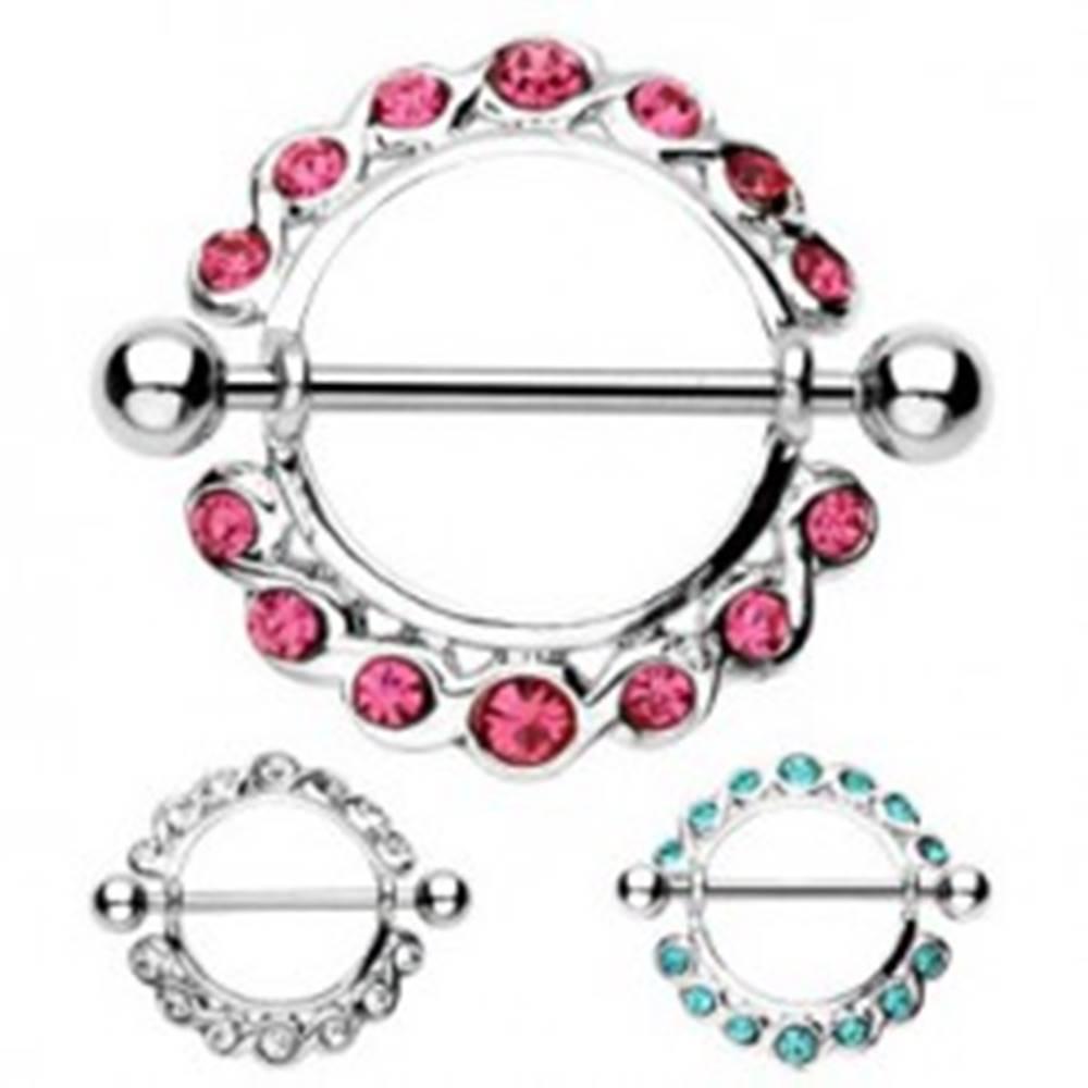 Šperky eshop Piercing do bradavky - činka a kruh so zirkónmi po obvode, 2 kusy - Farba zirkónu: Aqua modrá - Q