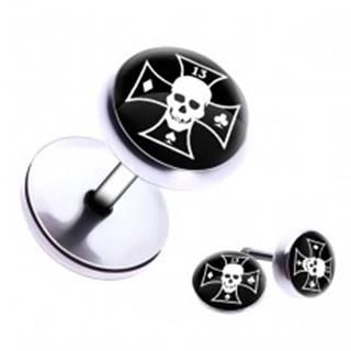 Falošný piercing do ucha z ocele - lebka, maltézsky kríž, symboly