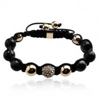 Náramok Shamballa - gulička s čírymi zirkónmi, korálky čiernej a zlatej farby
