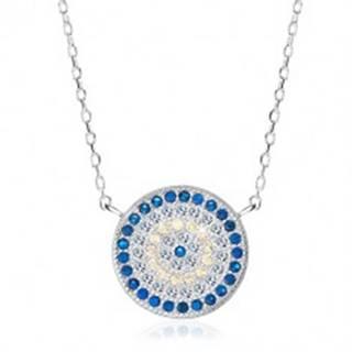 Ródiovaný náhrdelník, striebro 925, kruh s modrými, žltými a čírymi zirkónmi