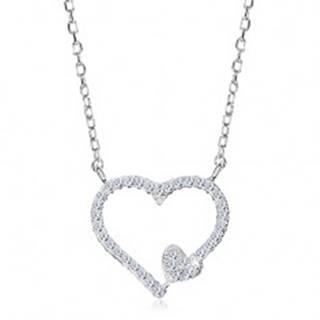 Ródiovaný náhrdelník, striebro 925, zirkónová kontúra srdca a malé srdiečko