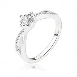 Zásnubný prsteň, striebro 925, zvlnené prepletené ramená, číry zirkón - Veľkosť: 56 mm