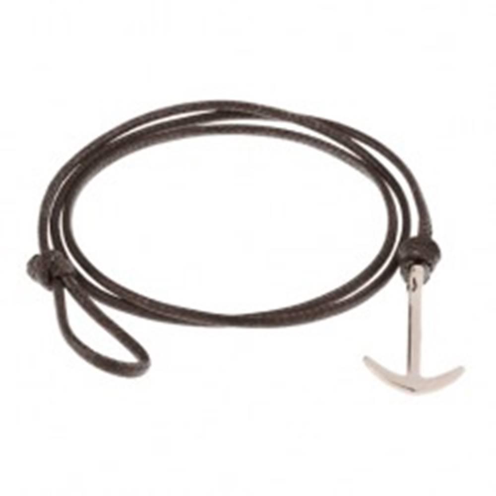 Šperky eshop Hnedý šnúrkový náramok na trojité obtočenie okolo zápästia, lesklá kotva