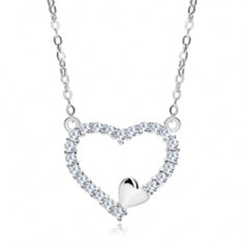 Šperky eshop Náhrdelník zo striebra 925, zirkónová kontúra srdca a malé srdiečko