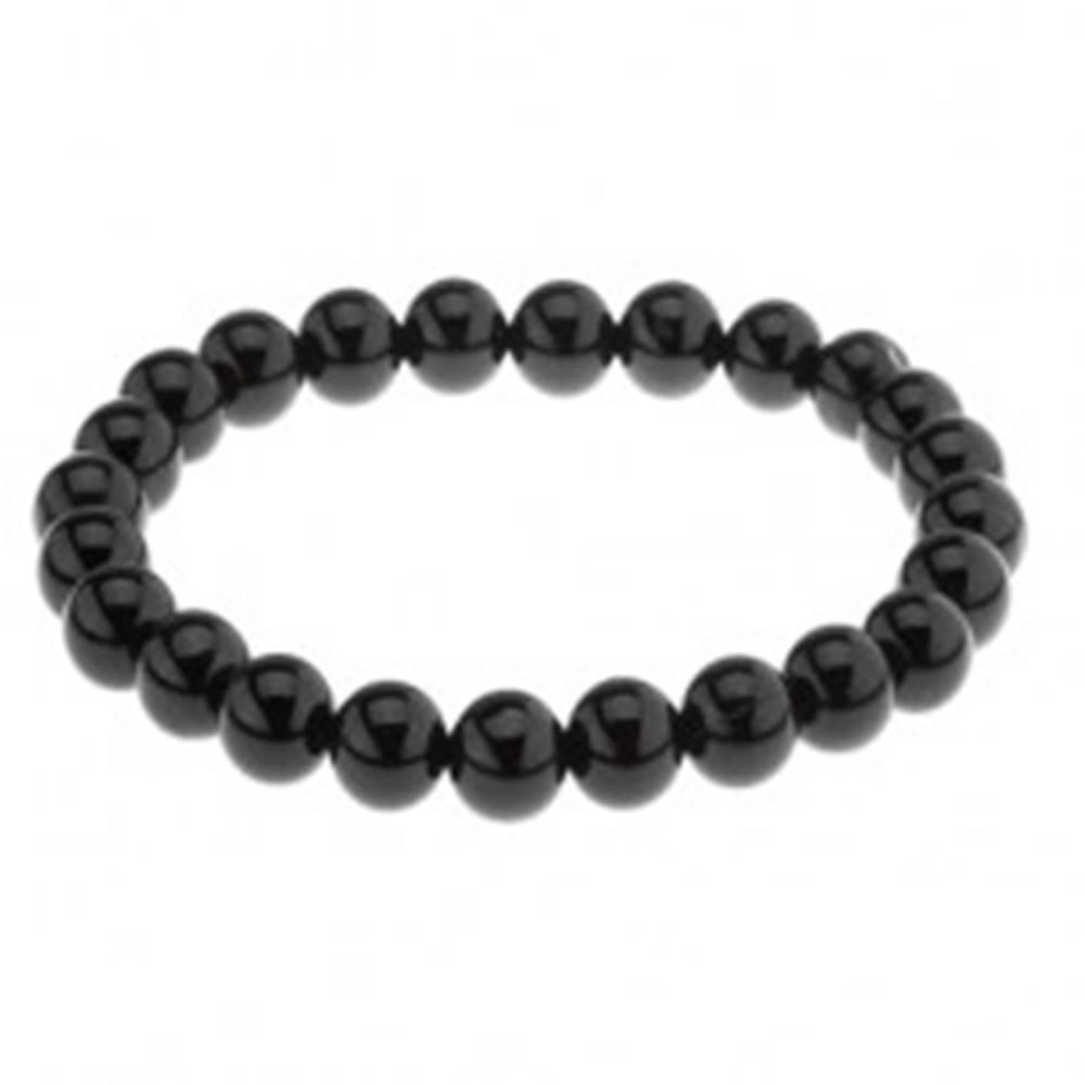 Šperky eshop Náramok z čiernych achátových guličiek, hladký lesklý povrch, elastický