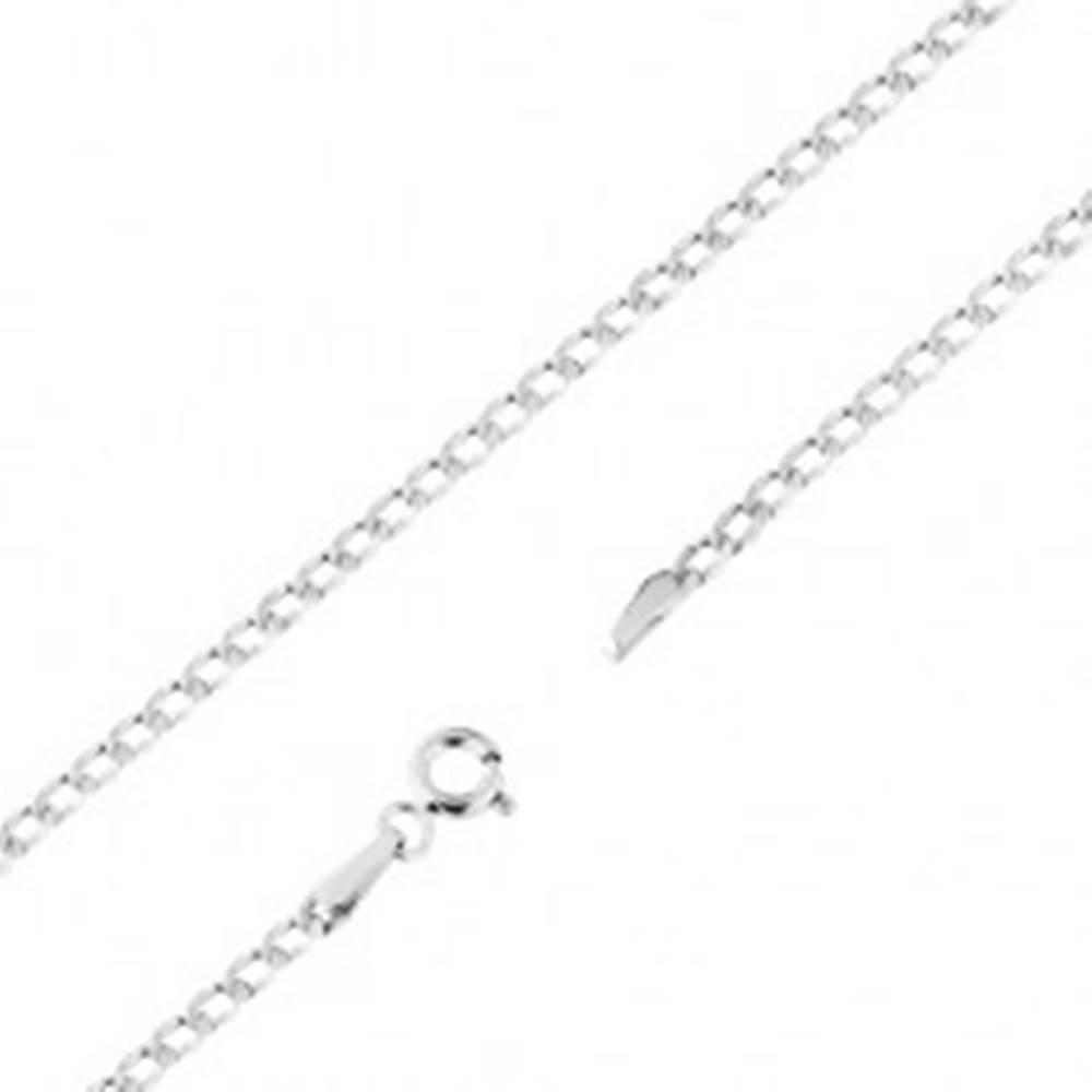 Šperky eshop Ródiovaná zlatá retiazka 585 - ploché oválne očká, drobné zárezy, 450 mm